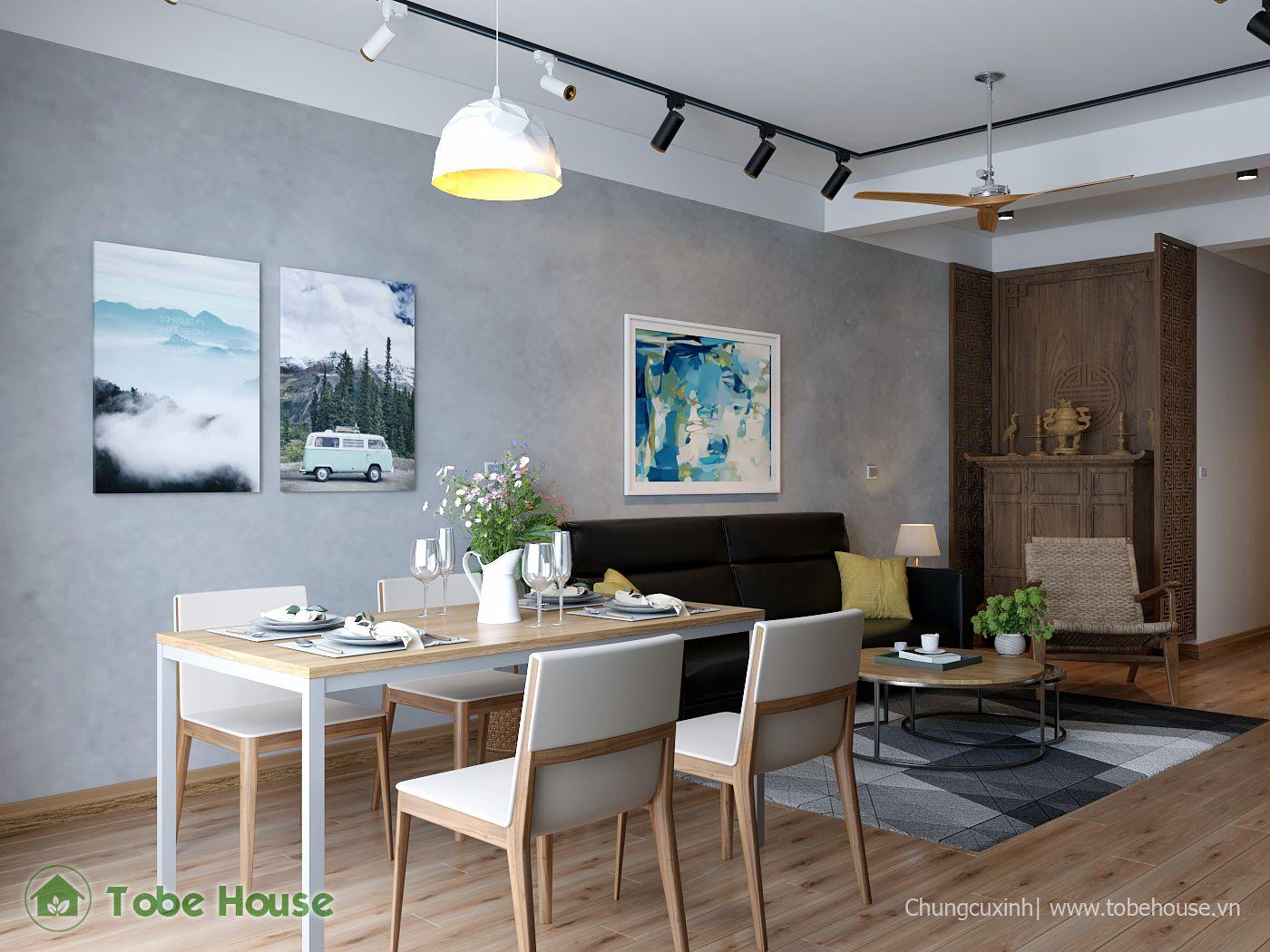 THIẾT KẾ NỘI THẤT CHUNG CƯ Happy House Garden-61m2